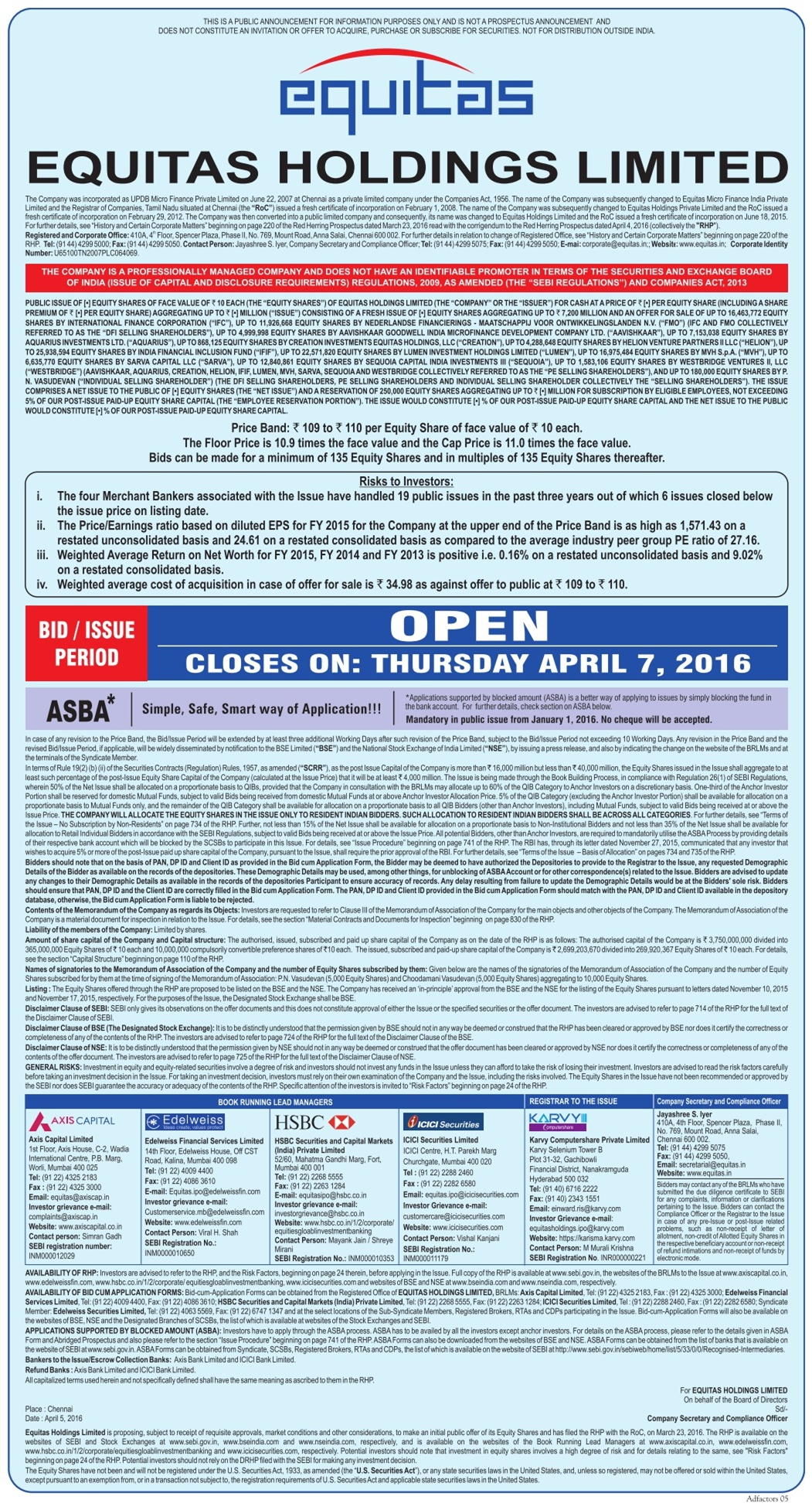 Equitas Holdings Limited Advertisement