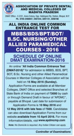 Association of Private Dental and Medical Colleges of MP Ad