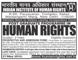 Indian Institute Of Human Rights Advertisement