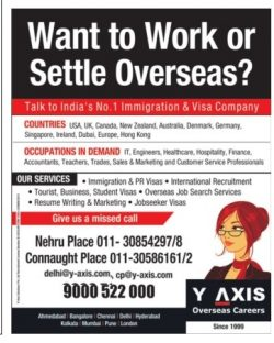 Y Axis Overseas Careers Advertisement