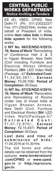 Central Public Works Department Tender Advertisement