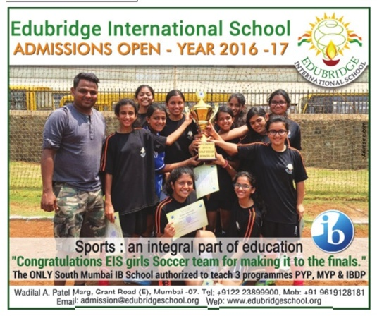 Edubridge International School Admission Open 2016-17 Ad