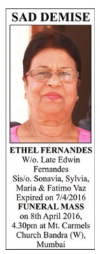 Ethel Fernandes Sad Demise Advertisement