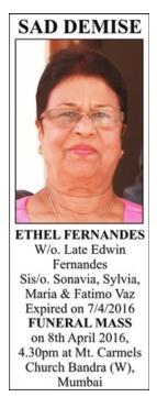 Ethel Fernandes Sad Demise Advertisement