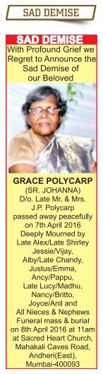 Grace Polycarp Sad Demise Advertisement