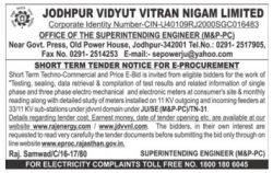 Jodhpur Vidyut Vitran Nigam Limited Tender Ad