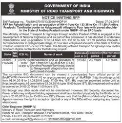 Ministry of Road Transport and Highway Tender