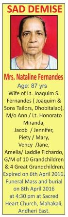 Nataline Fernandes Sad Demise Advertisement