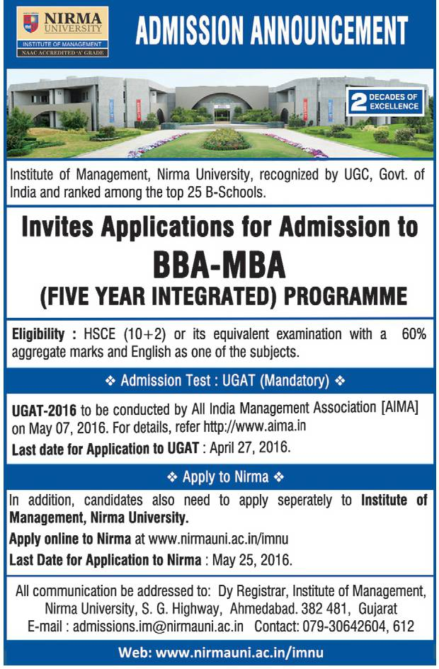 Nirma University Advertisement
