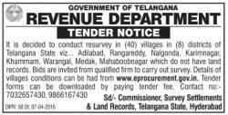 Revenue Department Govt of Telangana Tender Notice Ad