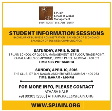 SP Jain School of Global Management Student Information Sessions Ad