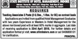 State Institute of Hotel Management Indore Advertisement