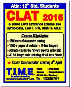 Time CLAT 2016 Advertisement