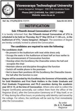 Visvesvaraya Technological University Notification Advertisement