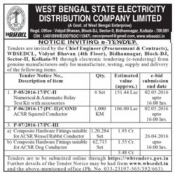 West Bengal State Electricity Distribution Company Limited Tender Ad
