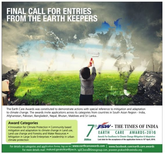Earth Care Awards Advertisement TOI Mumbai