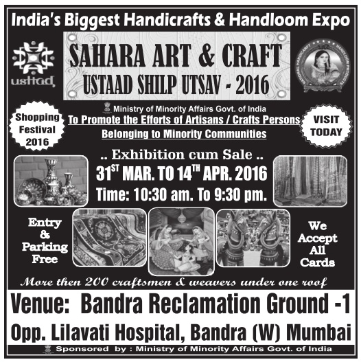 Sahara Art Craft Ad in TOI Mumbai on 8-4-2016