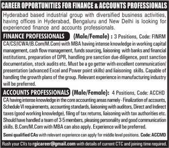 Career Opportunities for Finance Accounts Professionals Ad