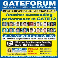 Gateforum Gate 2012 Result Ad in Eenadu Newspaper