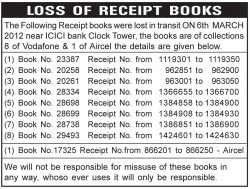Lost of Receipt Books Ad in Newspaper
