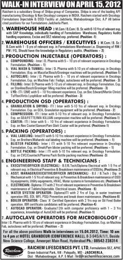 Raichem Lifesciences Pvt Ltd Recruitment Ad