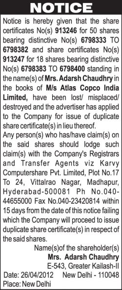 adarsh-chaudhry-shares-certificate-lost-ad