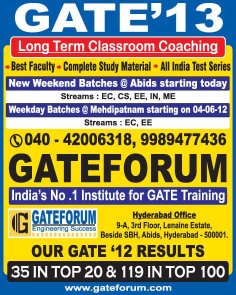 Gate Forum GATE-13 Ad in The Hindu
