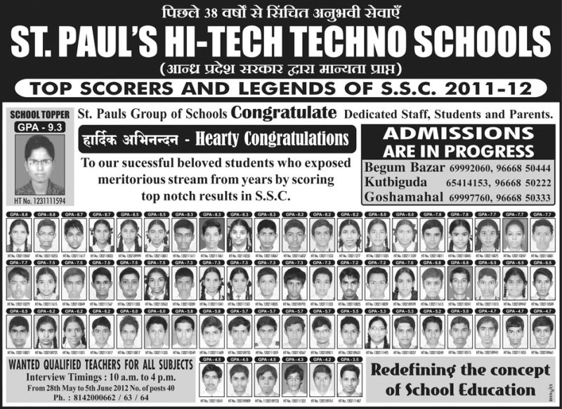 St Pauls Hi Tech Techno School SSC Results Ad