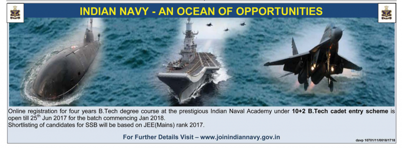 Indian Navy an Ocean of Oppurtunities Recruitment Ad