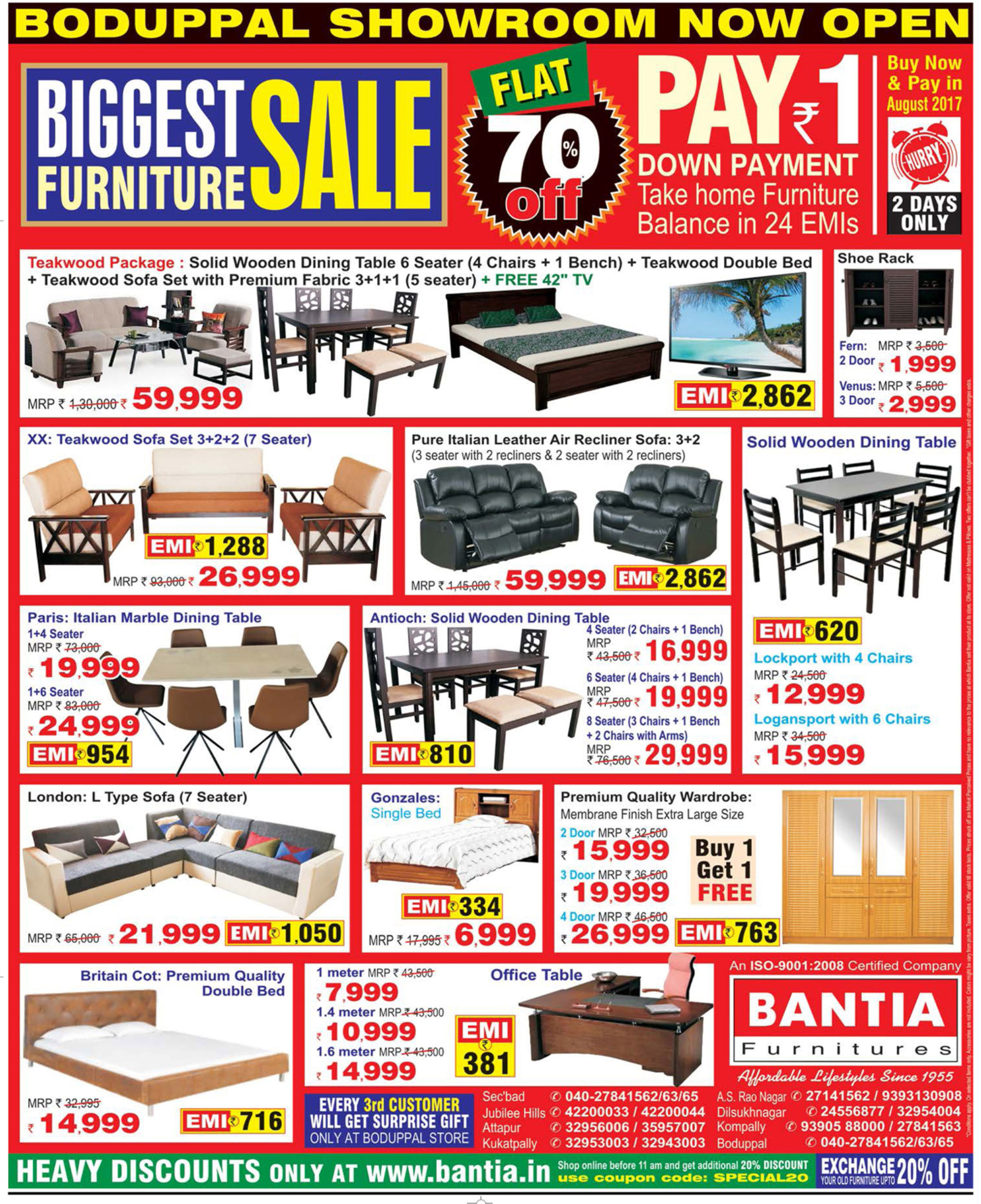 Furniture Store Ads: Bantia Furniture Biggest Furniture Sale Flat 70% Off Ad