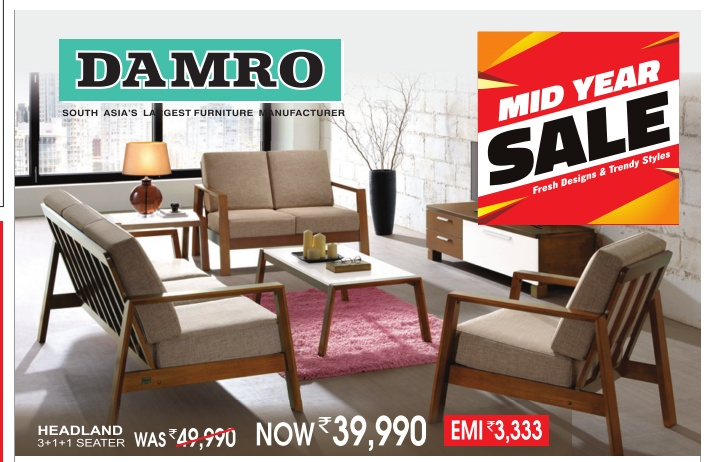 Damro furniture mid year sale fresh designs and trendy for Furniture year end sale 2017