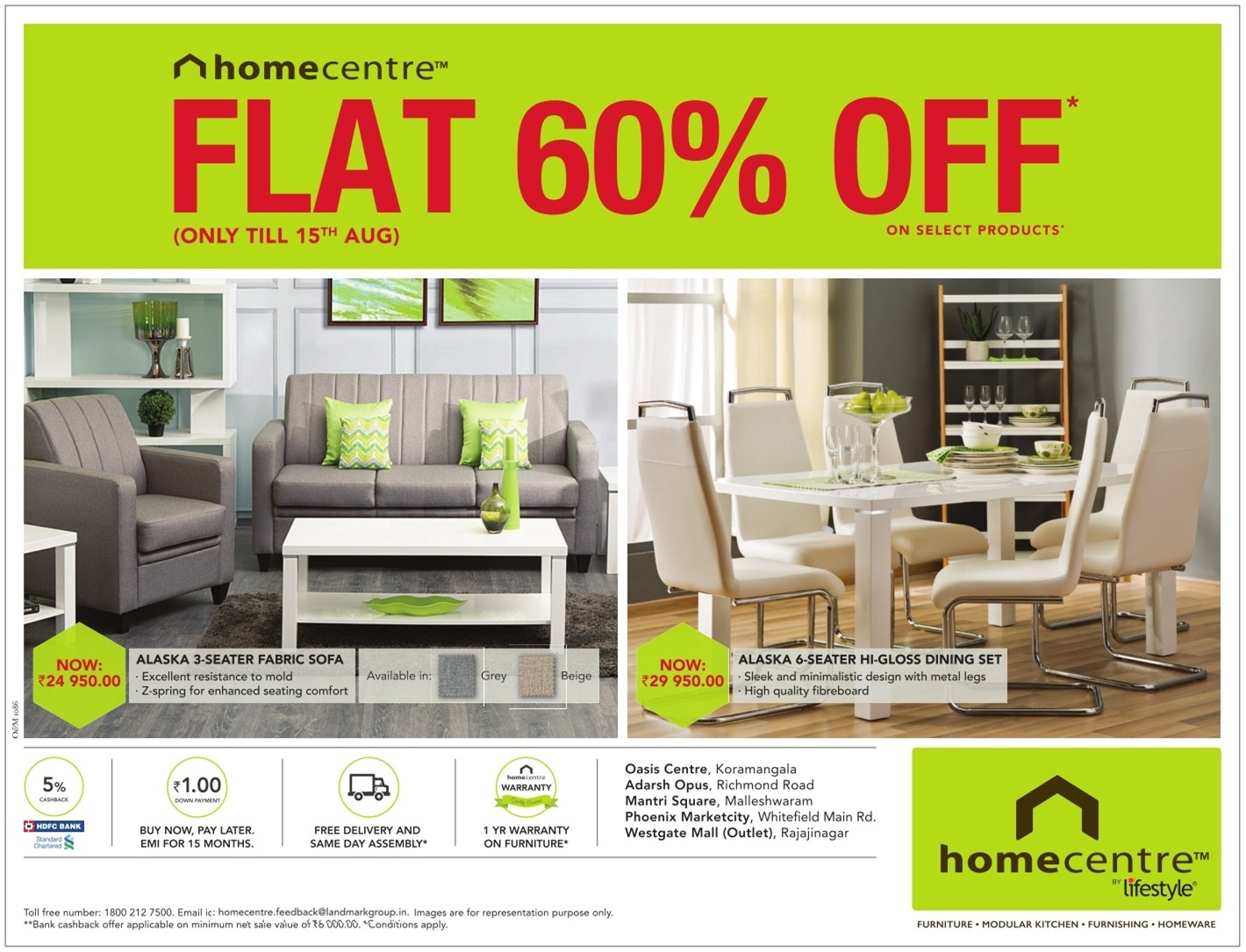 Home Centre Life Style Furniture 3 Seater Fabric Sofa And 6 Seater Gloss Dining Set Ad Advert