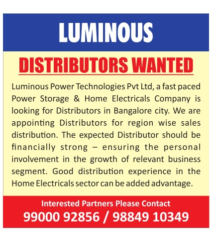 2aa580274a Luminous Distributors Wanted in Bangalore Ad - Advert Gallery
