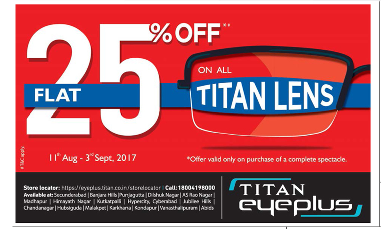 2c78d1ebdcb Titan Eyeplus On All Titan Lens Flat 25% Off Ad - Advert Gallery