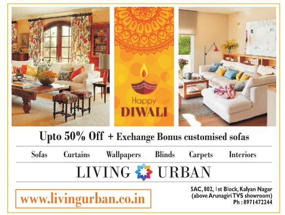 Living Urban Furniture Happy Diwali Upto 5 Off Exchange Bonus Customised Sofas Ad Advert Gallery