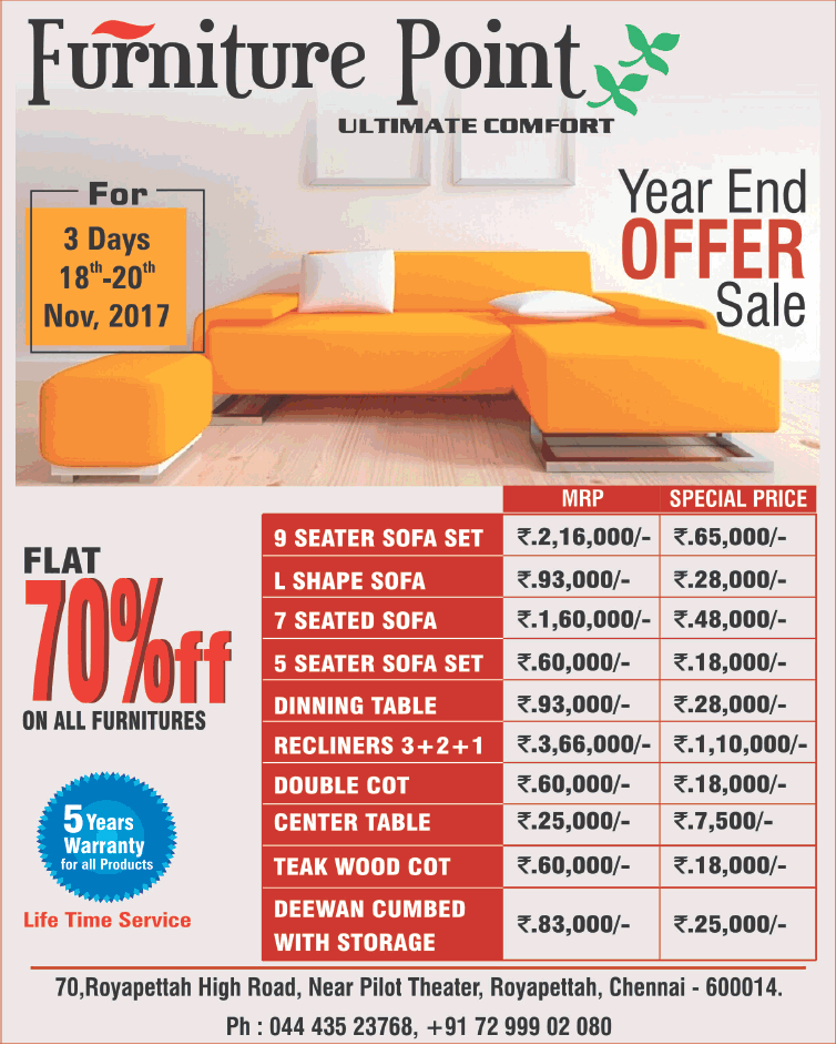 furniture point ulitmate comfort year end offer sale ad