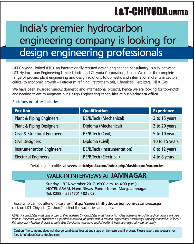 L and t chiyoda llimited indias premier hydrocorbon for Design and engineering companies