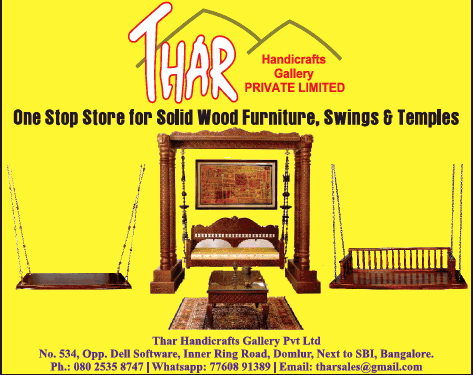 Thar Handicrafts Gallery Private Limited One Stop For Solid Wood Furniture Swings And Temples Ad