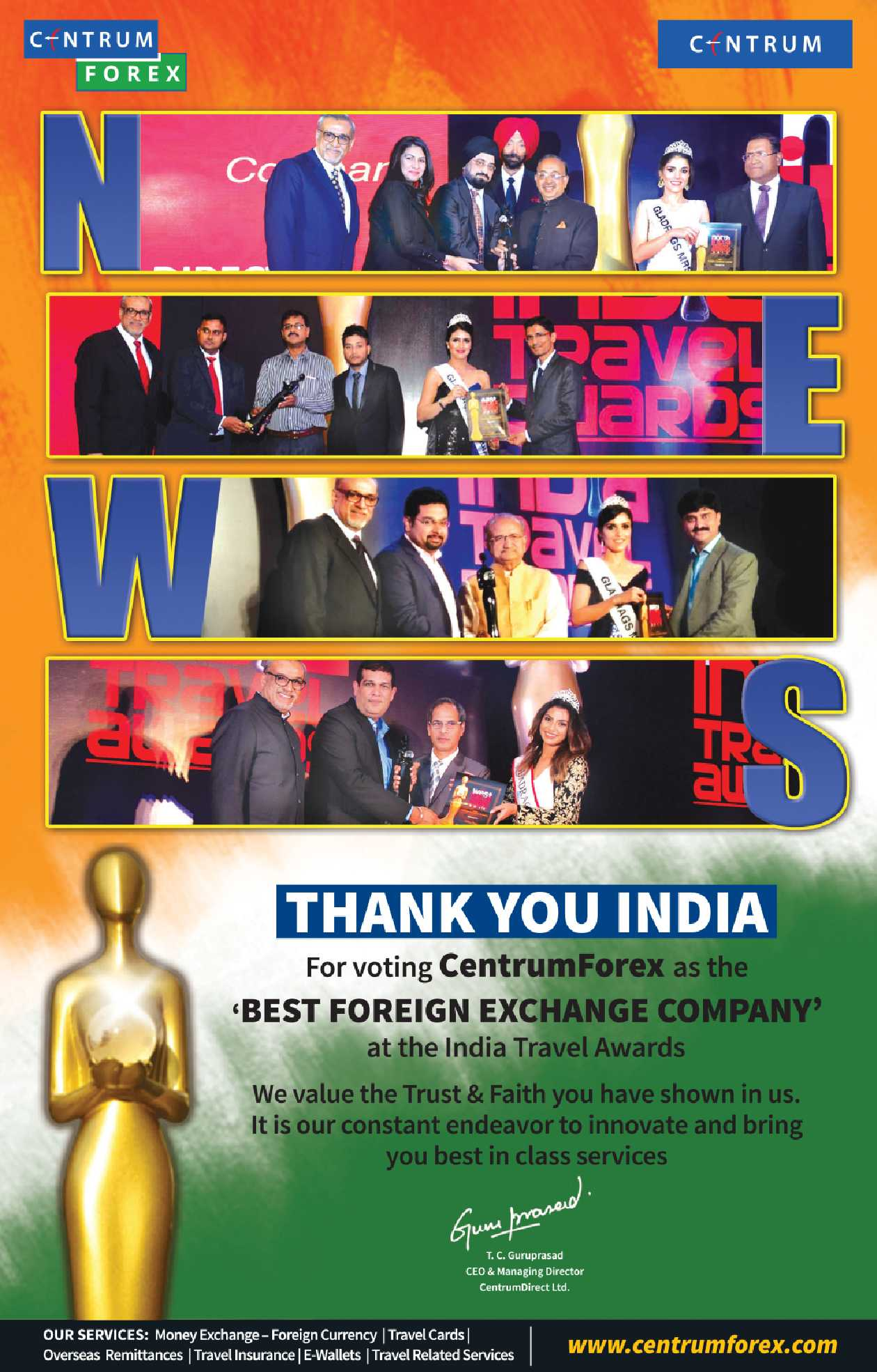 Centrum Forex Thank You India For Voting As The Best Foreign Exchange Company Ad