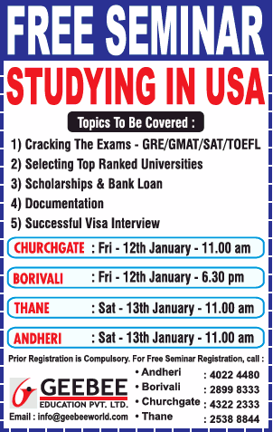 Geebee Education Pvt Ltd Free Seminar Studying In Usa Ad