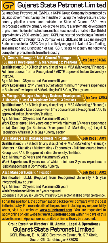 Gujarat State Petronet Limited Requires Dy General Manager Ad