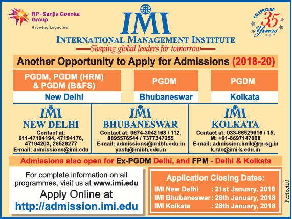 International Management Institute Another Oppurtunity To Apply For Admissions 2018 Ad