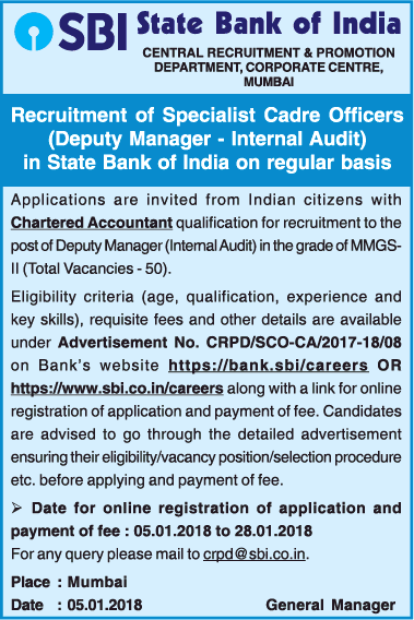 State Bank Of India Requires Chartered Accountant Ad
