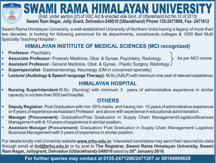 Swami Rama Himalayan University Invites Applications For Professor Ad