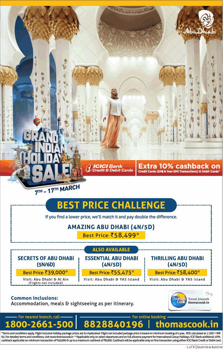 Thomascook In Grand India Holiday Sale Best Price Challenge Ad