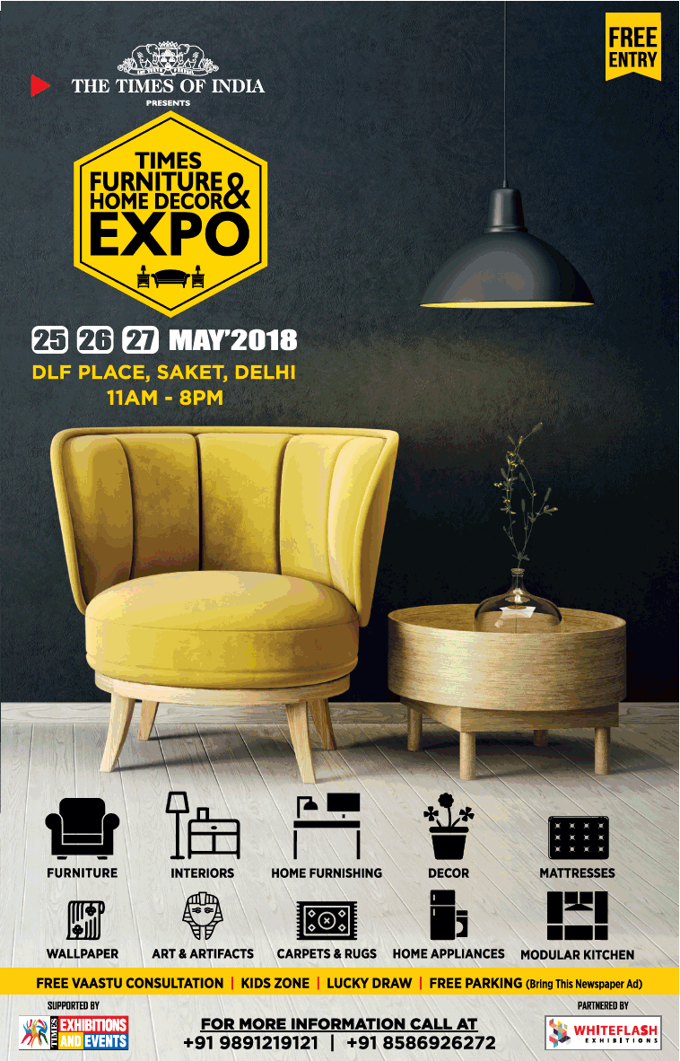 The Times Of India Presents Times Furniture And Home Decor Expo Ad