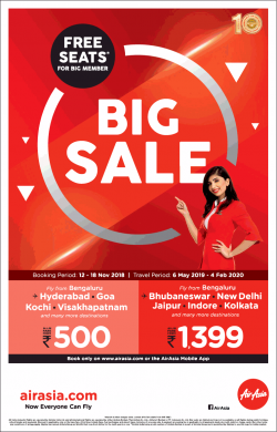 Air Asia Free Seats For Big Member Big Sale Ad in Times of India Bangalore