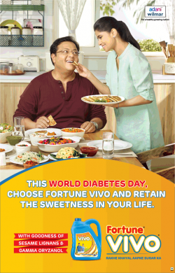 Fortune Vivo World Diabetes Day Advertisement in Bombay Times Newspaper