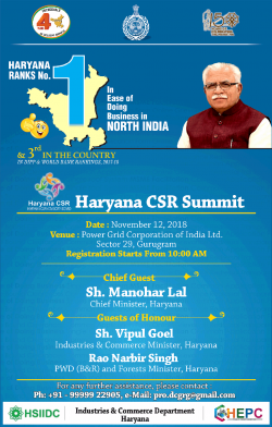Haryana CSR Summit Ad in Times of India Chandigarh