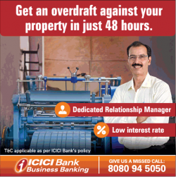 Icici Bank Get an Overdraft against your property in just 48 hours Ad in Times of India Delhi